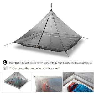 Image 4 - 620g Ultralight Camping Inner Tent 4 Personen 3 Seizoenen 40D Nylon Ademend Mesh Stangloze Achthoekige Piramide Bodemloze Grote Tent