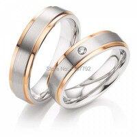 Мужского покроя Роза цвет золотистый titanium пары колец для Обручальное годовщина свадьбы украшения подарок