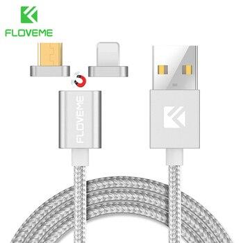 FLOVEME [2 en 1] Cable magnético, Micro USB + Cable Lightning a USB para Samsung Magnet Charge Cable de teléfono para Apple iPhone X 8 7 6 5S