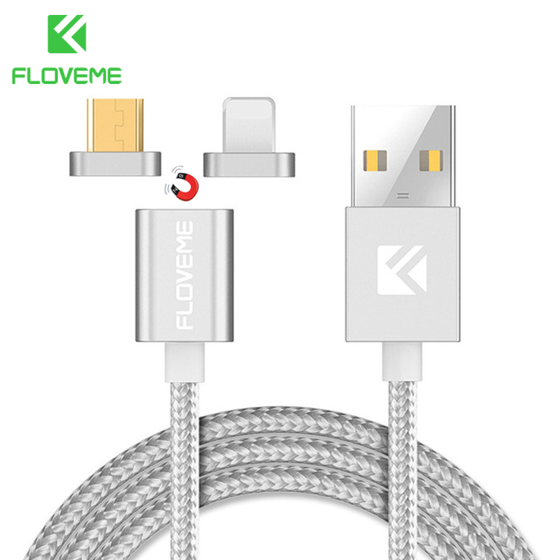 FLOVEME Magnetic Cable Micro USB+Lightning to USB Cable for Xiaomi Redmi Samsung For Apple iPhone USB Magnet Charge Phone Cable