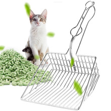 Portable Pet Cat Stainless Steel Litter Scoop All Durable Metal Hollow Non-Stick Long Handle Litter Box Scooper
