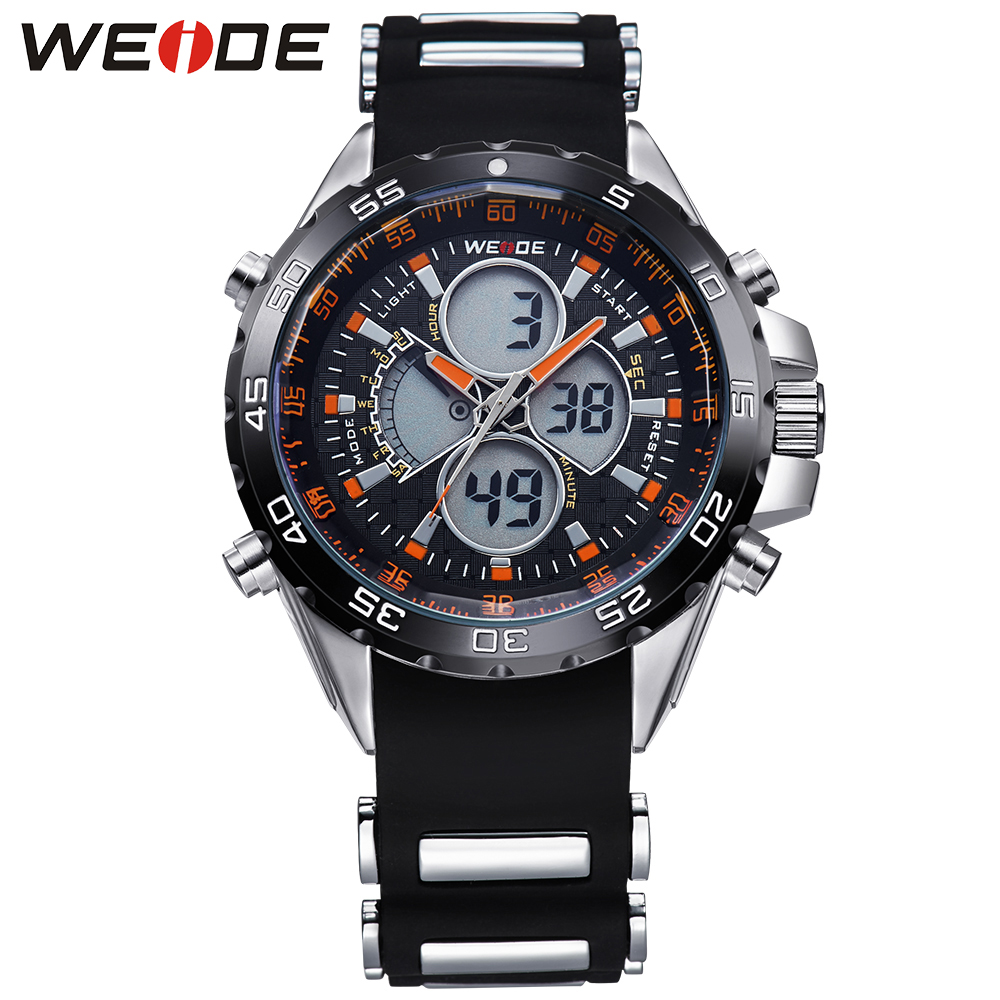 ФОТО WEIDE Mens Sport Watches Men Waterproof 3ATM Digital Quartz Dual Movement Silicone Strap Luxury Brand Running Relogio Masculino