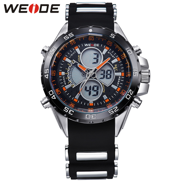 WEIDE Mens Sport Watches Men Waterproof 3ATM Digital Quartz Dual Movement Silicone Strap Luxury Brand Running Relogio Masculino