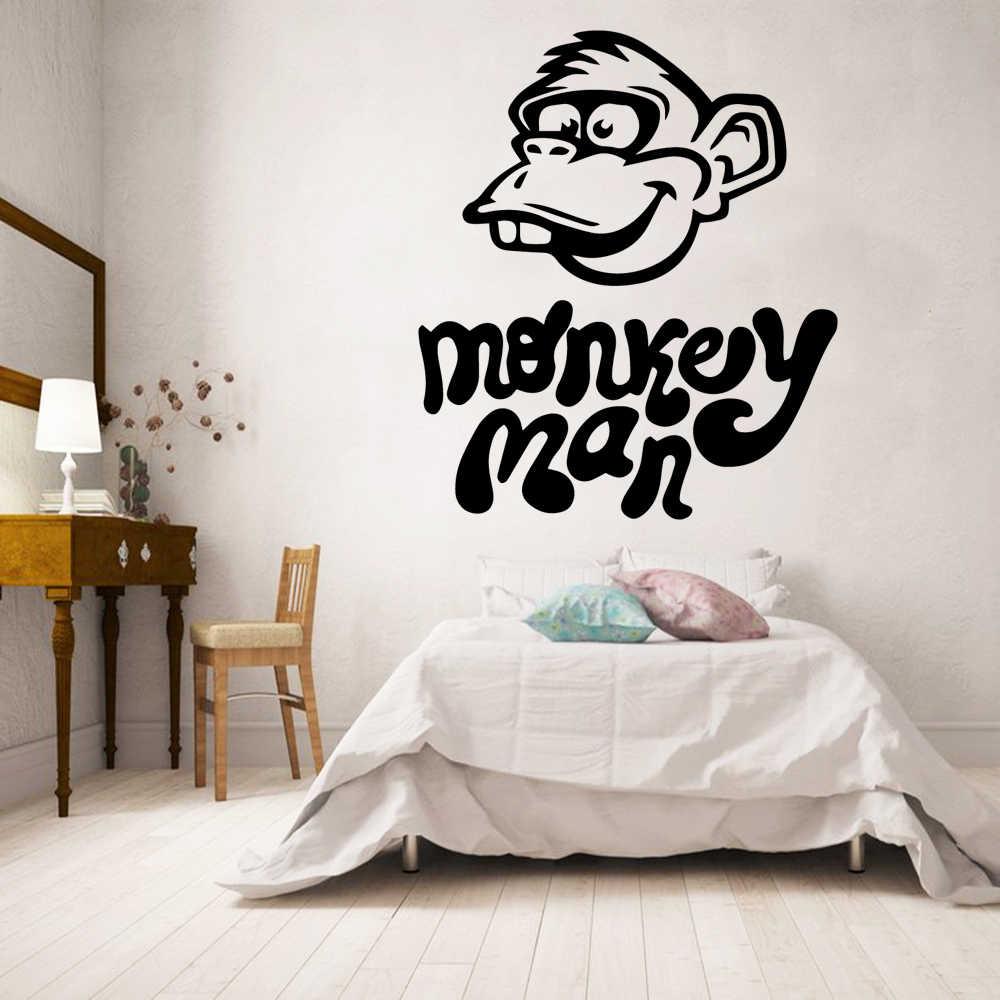 Geschnitzte affe mann Wohnkultur Moderne Acryl Dekoration Für Kinder Zimmer Wand Aufkleber Schlafzimmer Wasserdichte Wand Vinyl naklejki