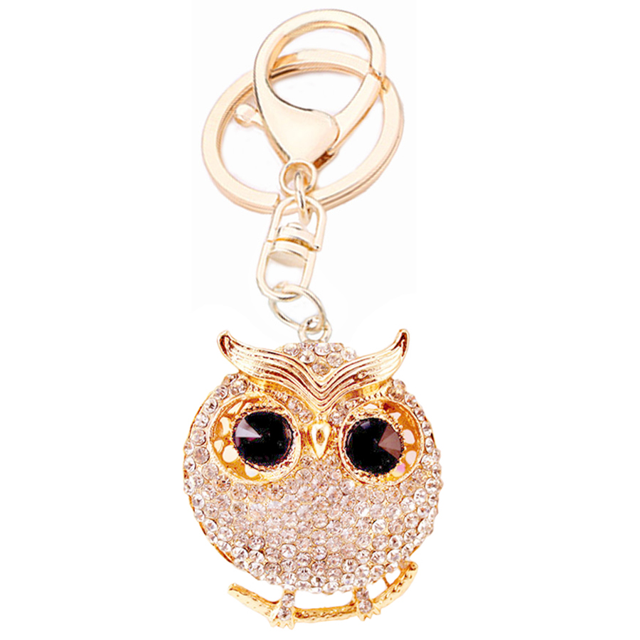Beautiful Crystal Animal Owl Keyring Alloy Key Chains Holder Purse Bag For Car Women Gift Keychains Jewelry Chaveiro R109