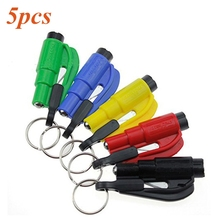 5 Pieces Car Auto Mini Safety Glass Window Breaking Hammer Emergency Escape Rescue Tool with Keychain Seat Belt Knife Cutter