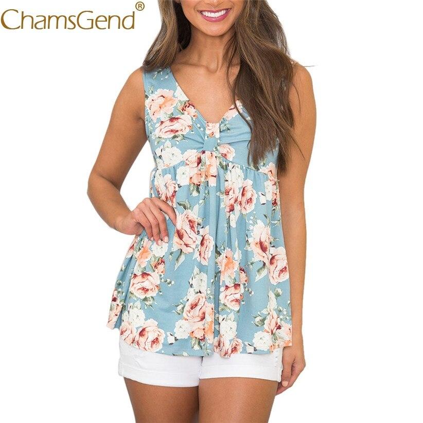 Free Shipping Women Floral Print V Neck High Waist Tank Top Summer Drapped Woman Shirt 80515 Drop Shipping