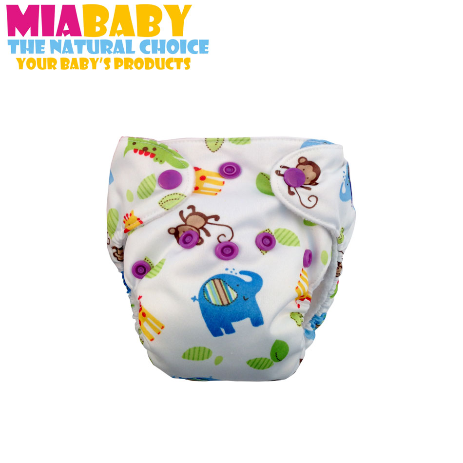 Miababy Newborn AIO Cloth  Diaper,with Sewn Inside  insert, Fits 0-3 months baby