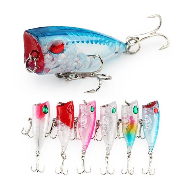 6 шт./лот 6 Цвет мини Поппер жесткая приманка для рыбалки Цвет ful пластиковые приманки 4 см/3,3g Плавающий Поппер