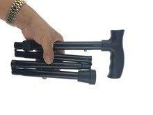 T handle Telescopic Black Folding Walking Cane Aluminum Alloy