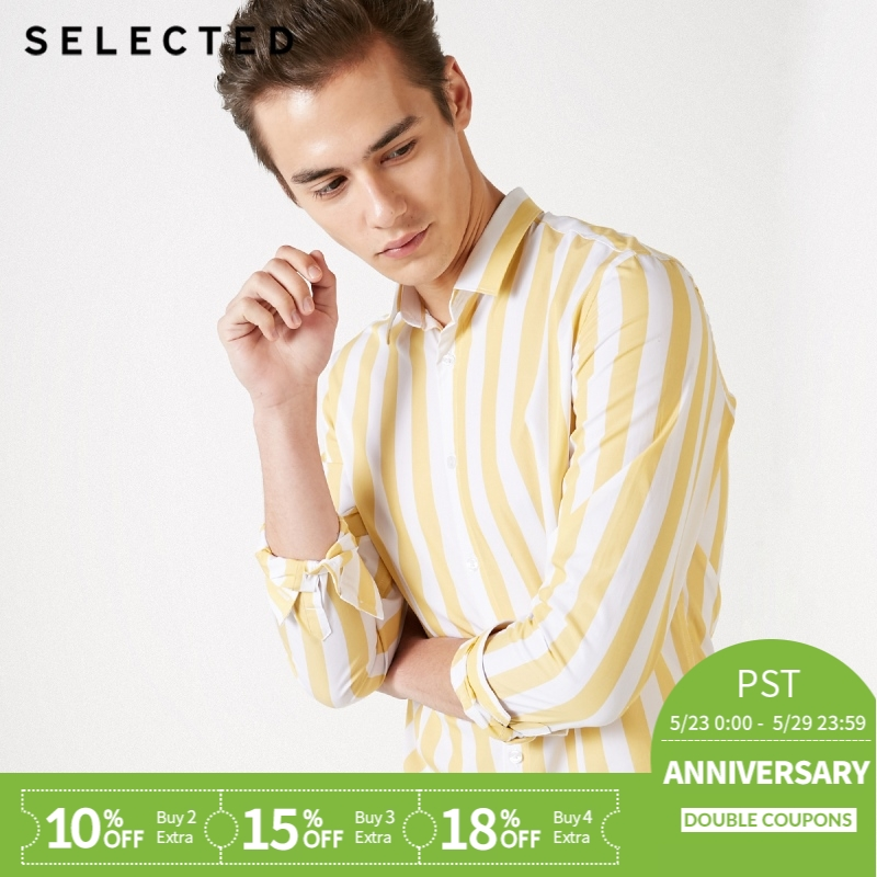 SELECTED Men's 100% Cotton Colored Stripe Long-sleeved Shirt S|419105550