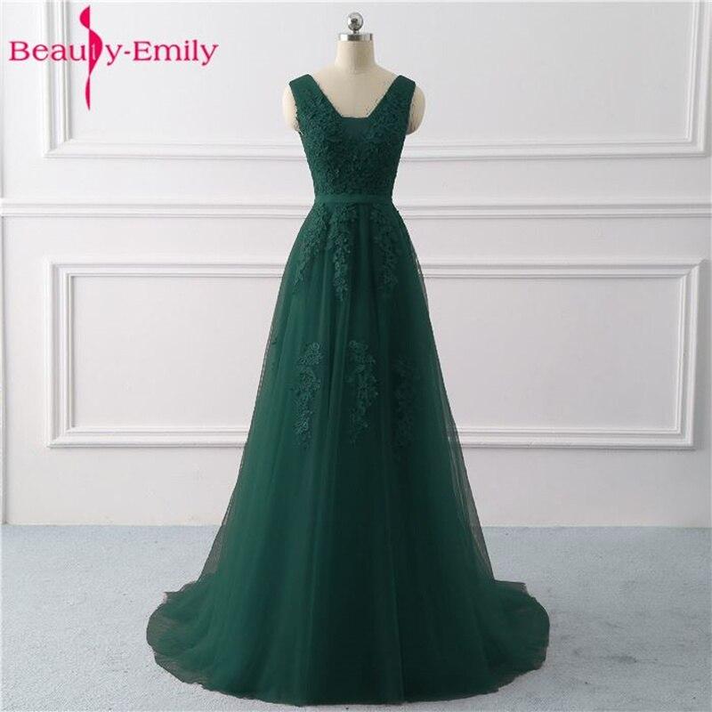 Beauté Emily dentelle col en v robes de soirée longues 2019 Sexy dos ouvert robes de bal Tulle sans manches plissé robe de soirée robe de soirée