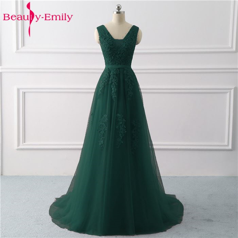 Beauty-Emily Lace V-neck Long Evening Dresses 2020 Sexy Open Back Prom Gowns Tulle Sleeveless Pleated Party Dress Robe De Soiree
