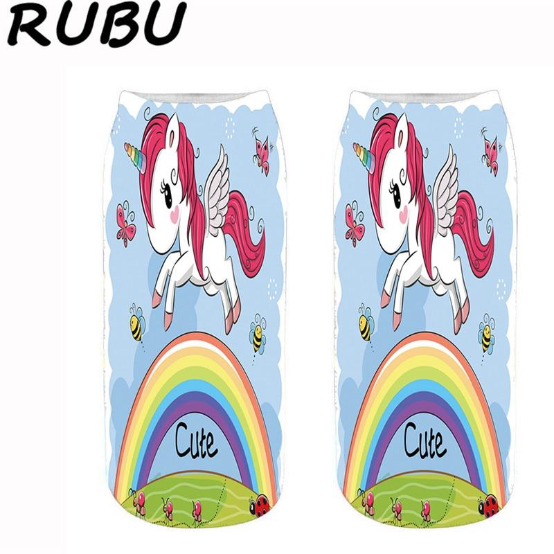 RUBU New Kawaii Women Ankle Socks Animal Unicorn Printing Socks Women Men Unisex Short Female Funny Socks 7VB171