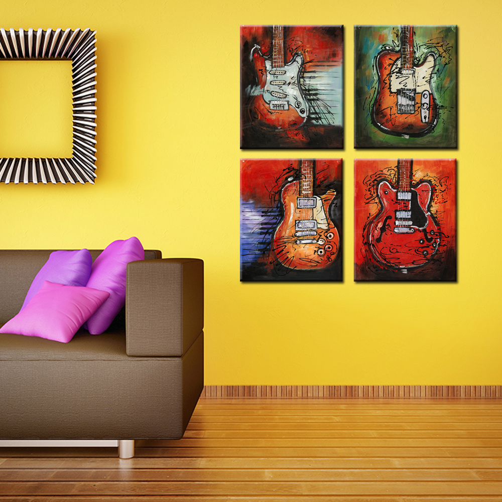 4 Pieces Music Canvas Wall Art Picture Giclee Prints Abstract Guitar ...