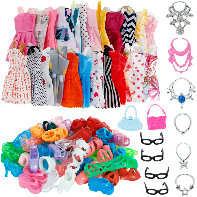 32 Item/Set Doll Accessories=10 Mix Fashion Cute Dress+ 4 Glasses+ 6 Necklaces+2 Handbag+ 10 Shoes For Barbie Doll