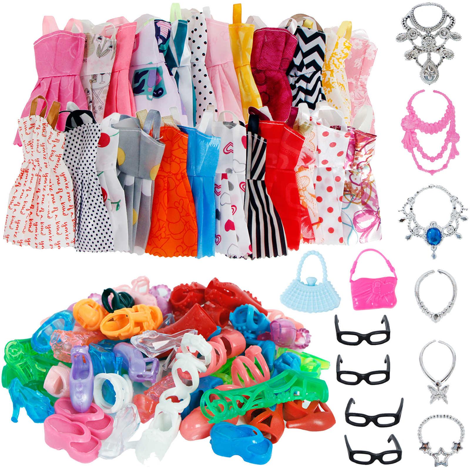 32 предмета/комплект кукольных аксессуаров = 10 смешанных модных милых платьев + 4 стекла + 6 колье + 2 сумочки + 10 туфель, модельная Одежда для куклы Барби