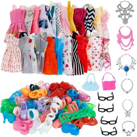 32 Item/Set Doll Accessories=10 Mix Fashion Cute Dress+ 4 Glasses+ 6 Necklaces+2 Handbag+ 10 Shoes Dress Clothes For Barbie Doll Pakistan