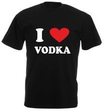 High Quality T Shirts  Short Crew Neck Make Your Own I Love (Heart) Vodka Best Friend Mens Shirts цена и фото