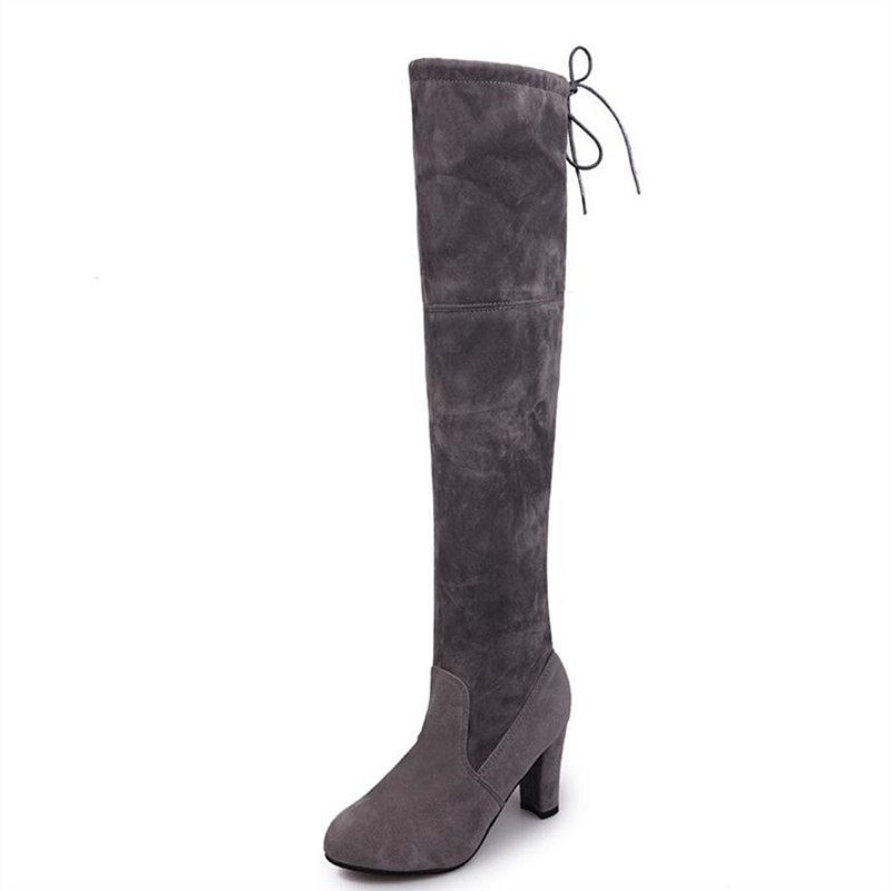 Womens Thigh High Stretch Boot - Trendy High Heel Shoe - Sexy Over The Knee Pullon Boot - Comfortable Easy Heel