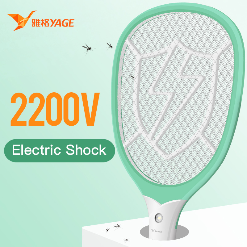 YAGE Electric Mosquito Swatter Mosquito Killers usb Pest Control Bug Zapper Reject Racket Trap 2200V Electric Shock with Lights