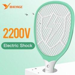 Yage elétrica mosquito mata-mosquitos assassinos usb controle de pragas bug zapper rejeitar raquete armadilha 2200 v choque elétrico com luzes