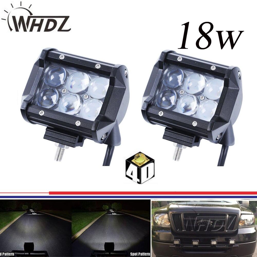 ФОТО 2pcs 12V 24V Flood Spot Beam 4 inch 18W LED Work Driving Light Bar with 4D LENS for Car Truck SUV 4x4 ATV OffRoad