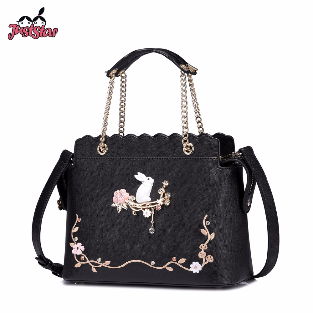 JUST STAR Women's  PU Leather Handbags Ladies Cartoon Rabbit Shoulder Chains Tote Purse Female Embroidery Flower Messenger Bags just star women s pu leather handbag ladies cartoon cat embroidery tote shoulder purse female leisure messenger bags jz4492