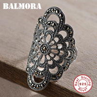 BALMORA 925 Sterling Silver Mosaic Resizable Hollow Rings for Women Finger Ring Vintage Thai Silver Fashion Jewelry MKS20312