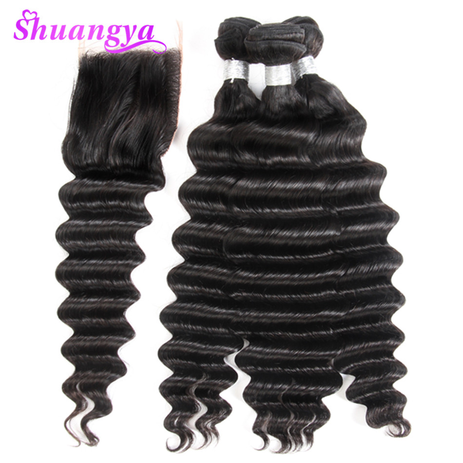 Shuangya Loose Deep Wave Bundles With Closure Remy Human Hair Bundles With Closure Brazilian Hair Weave