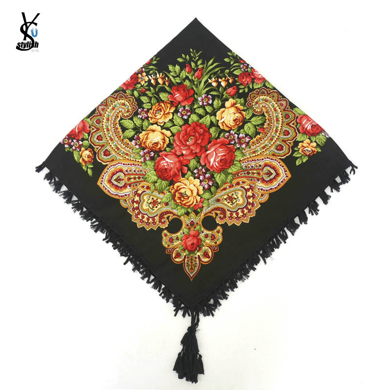 Square Scarf Wrap-Scarves Tassel-Headband Short Retro-Cape Shawl Lady Russian Floral