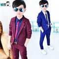 2016 NUEVO niño blazers traje + pantalones 2 unidades Para Niños sistema de la ropa 2-12Y Suave Boy Trajes de Estilo de Moda de BUENA Calidad azul/rojo