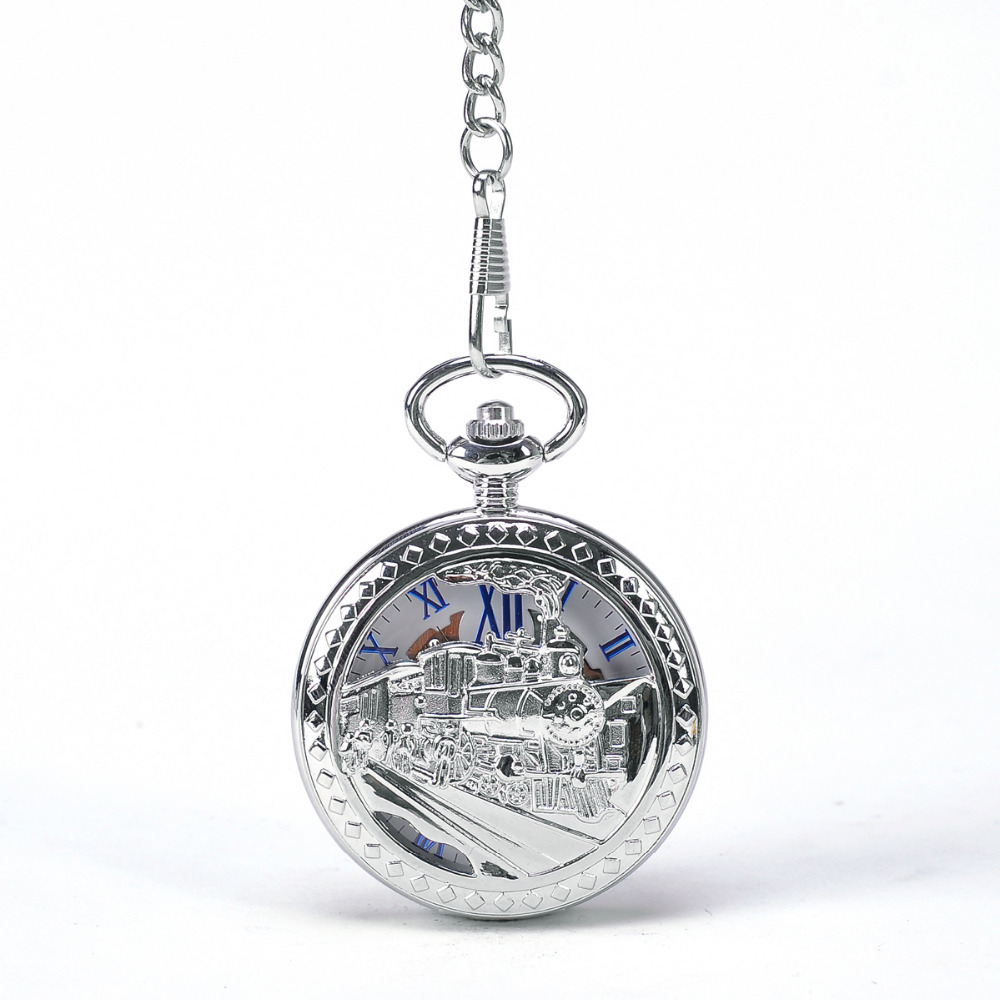 Silver Train To Travel Men Mechanical Pocket Watch Wi