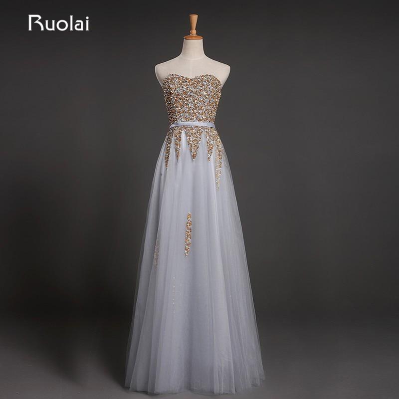 Echt Bild Schöne A-Line Silber Goldene Pailletten Top Schärpe Tüll Abendkleid Lange Abendkleid Vestido de Fiesta 2017 ED22