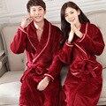 Vino Rojo de La Moda Hombre Mujer Otoño Invierno Caliente Suave Franela Novios Amante Traje de Algodón de Color Puro Noble Robes Niza Regalo
