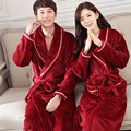 Wine Red Fashion Man Women Autumn Winter Soft Warm Flannel Sweethearts Lover Robe Pure Color Cotton Noble Robes Nice Gift
