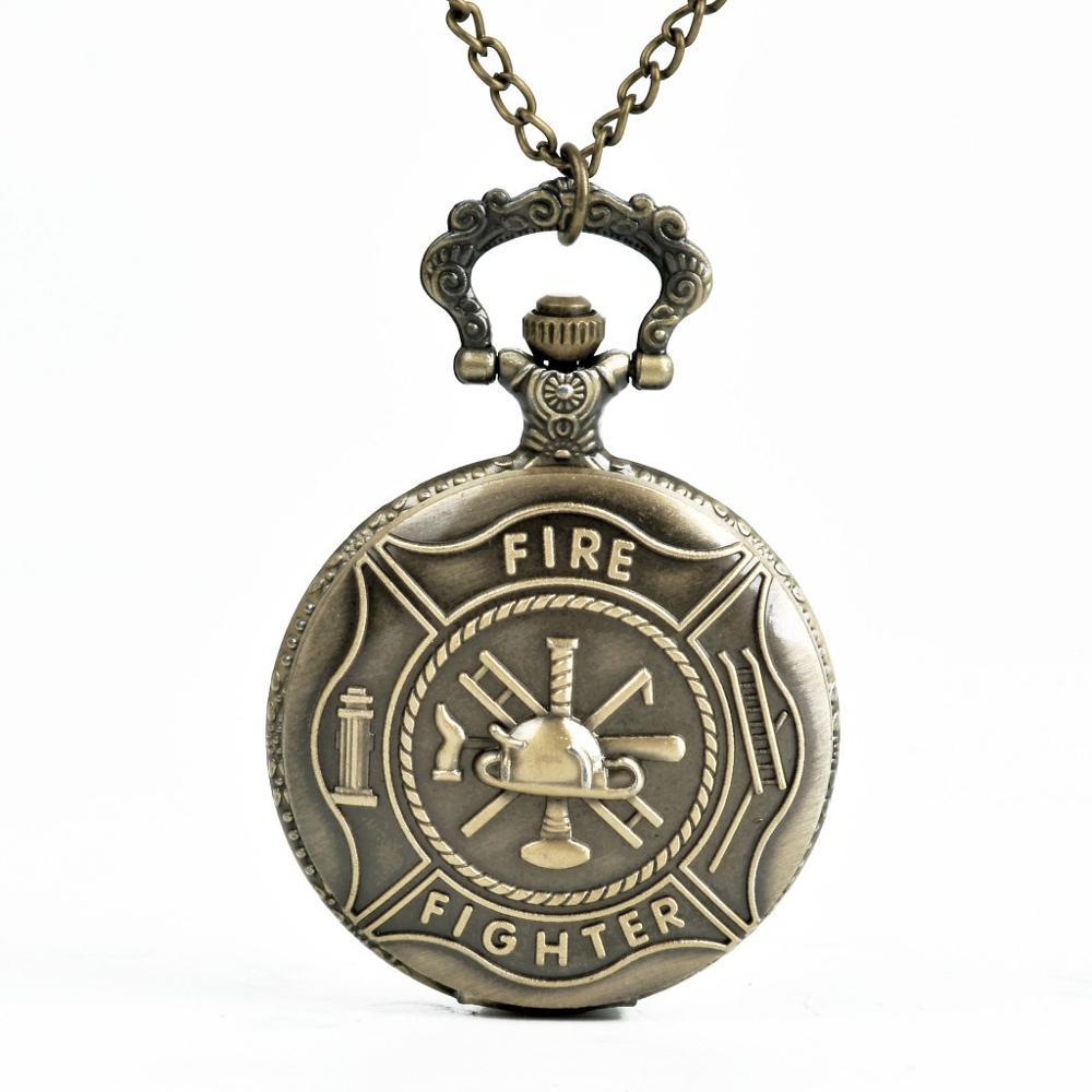 Pocket Watch Fire Fighter Pattern Full Hunter Bronze Quartz Watches Antique Unique Firefighter Men Women Gift