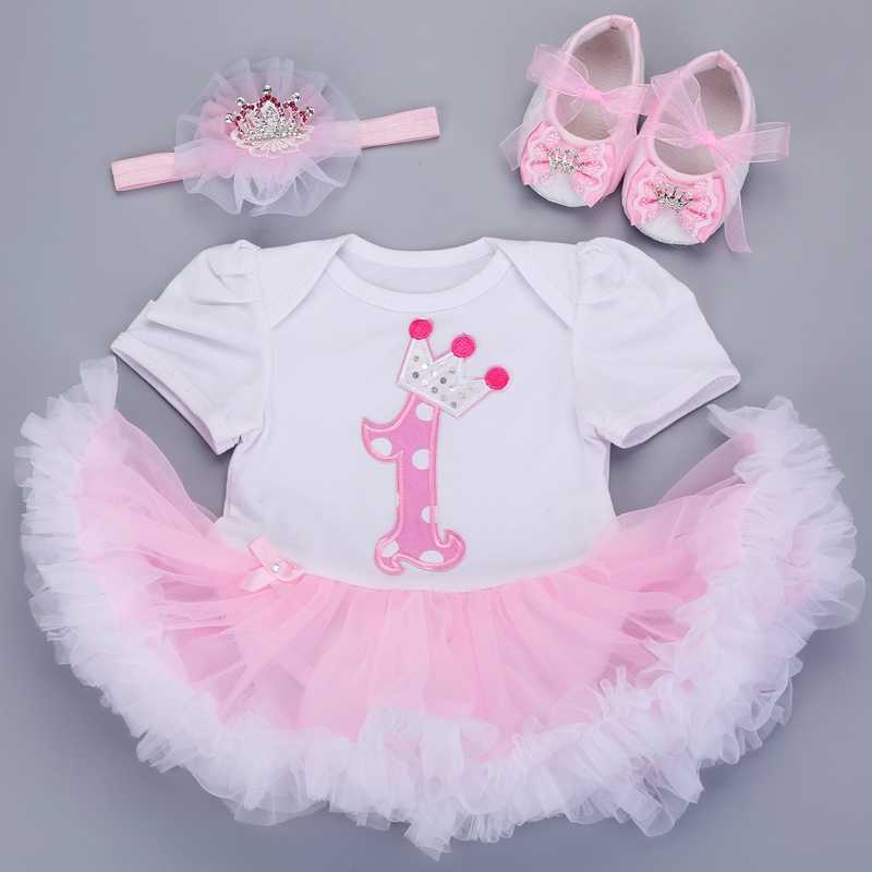 40d96c33e6db6 0-3 months baby girl dresses headband shoes set infantil Children's  clothing set girls tutu kids wear puff short sleeve vestido