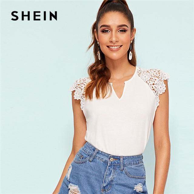 5929405163 SHEIN V Cut Guipure Lace Trim White T Shirt Women Stretchy Slim Fit Solid  Tshirt Elegant Raglan Sleeve Summer Ladies Tops