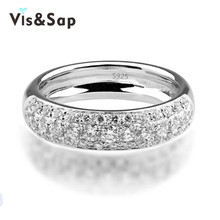 Simple style ring engagement wedding Rings for women 18k White gold plated romantic cz diamond jewelry Wholesale anel VSR037