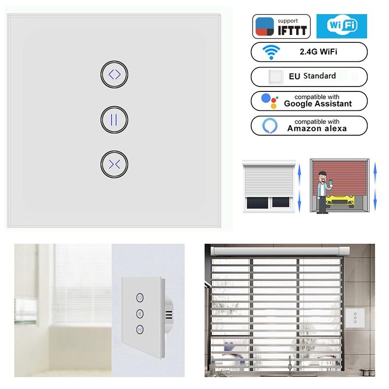 Wifi Electric Curtain Switch Curtain Switch Glass Panel Touch Curtain Switch For Electric Curtain Work Google Home/Alexa IFTTT