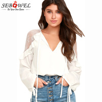 SEBOWEL 2018 White Black Lace Long Sleeve Ladies Chiffon Blouses Sexy V Neck Ruffle Shoulder Women