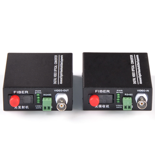 1 Pair 2 Pieces/lot 1 Channel Fiber Optic Video Converter Transmitter & Receiver 1CH +RS485 Data 1