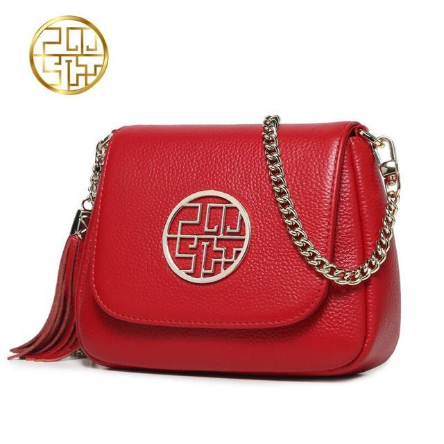2017 New Pmsix Superior cowhide fashion chains shoulder bags  women bag genuine leather handbags women's bag