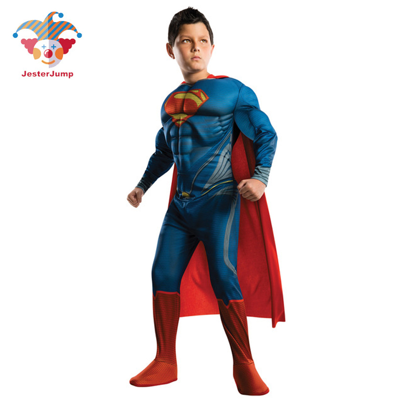 Purim Costumes Kids Deluxe Muscle Christmas Superman Costume for children boys kids superhero movie man of steel cosplay