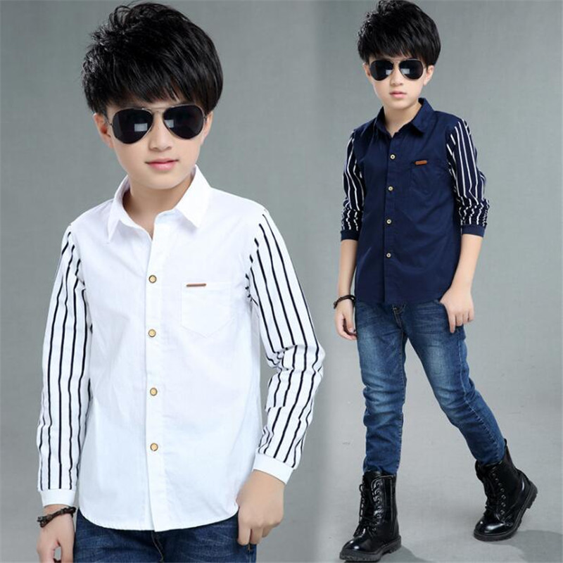 TZCZX-2430 New Spring Children Boys Shirt Fashion Striped long sleeve Turn-Down Collar Shirt For 4-12 Years Old Kids Wear chic stand collar 3 4 sleeve striped shirt dress for women