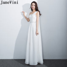 JaneVini White Chiffon Bridesmaid Dresses One Shoulder Shawl Beaded Long Ladies Formal Prom Dress Pleated Maid of Honor Gowns(China)