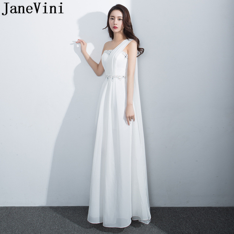 JaneVini White Chiffon   Bridesmaid     Dresses   One Shoulder Shawl Beaded Long Ladies Formal Prom   Dress   Pleated Maid of Honor Gowns