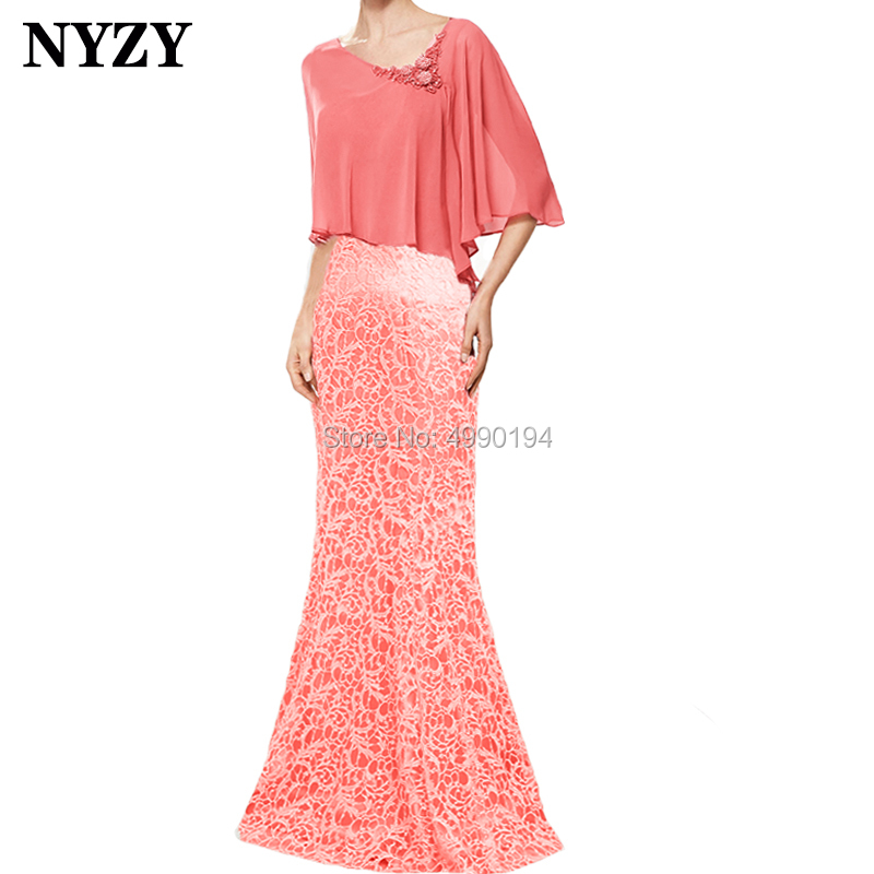 NYZY M159 New Arrival Cape Sleeve Coral Lace Chiffon 2019 Mother Of The Bride Dresses Wedding Party Gown Abiti Cerimonia