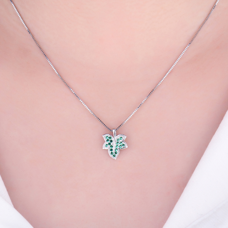 Jpalace Leaf Simulated Nano Emerald Pendant Necklace 925 Sterling Silver Gemstone Choker Statement Necklace Women Without Chain in Pendant Necklaces from Jewelry Accessories